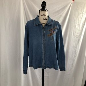 Erika large zip front denim jacket with embroidery